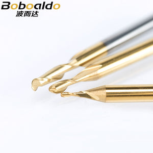 10pc 3.175mm ball nose 2 Flute Spiral TiN Coating end mill CNC router bits for wood tungsten carbide milling route tool