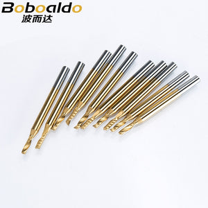 10pc/set 3.175mm TiN Coating Single Flute Spiral Cutter router bit CNC end mill carbide milling cutter Machine Accessories