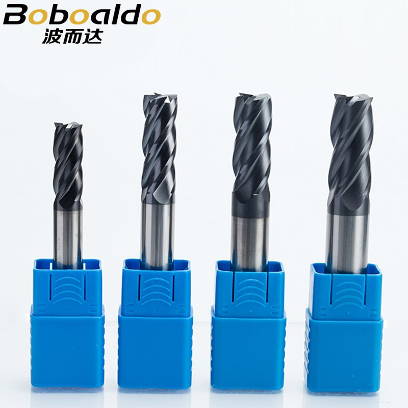 Solid Carbide End Mill 6mm Shank Dia TiAIN Coat 4-Flute CNC Router Bits For Wood