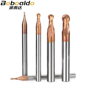 1PC HRC55 Ultrafine Tungsten Carbide Cutter CNC Tool Alloy Coating End Mill 2 Flutes Ball Milling Cutter Steel Copper