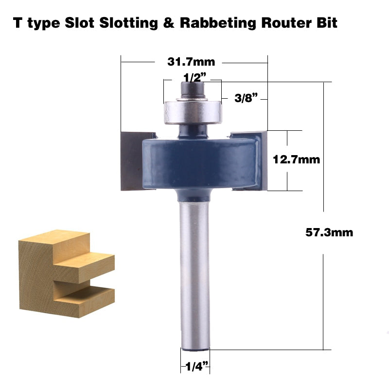 1pc 1 4 Shank T Type Bearings Wood Milling Cutter Industrial Grade Rabbeting Bit Woodworking Tool Router Bits For Wood