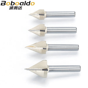 1pcs 1/2 1/4 Shank 60 Deg V Type slotting cutter Tungsten Router Bits for wood Woodworking Carving Tool