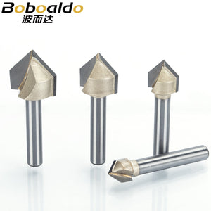 1pcs 1/2 1/4 Shank V Type slotting cutter Professional Router Bits for wood 90 Deg Tungsten Woodworking Carving Tool