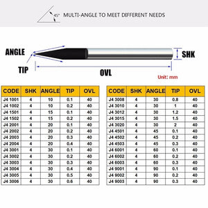 1pcs 4mm Engraving Bits Precision Grinding V Shape Carbide PCB Milling Cutter CNC Router Tool Machine Accessories