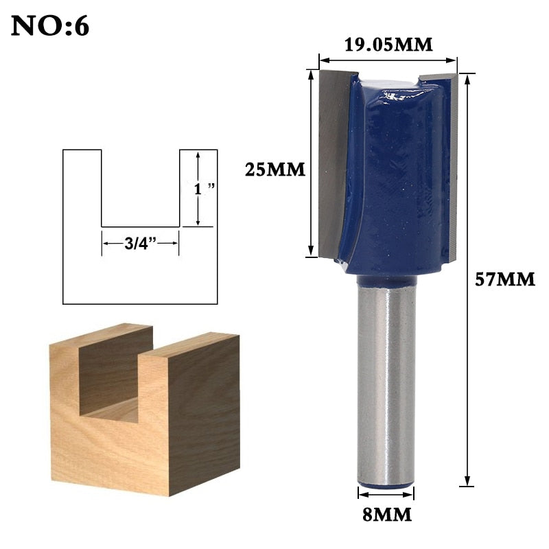 1pcs 8mm Shank Wood Router Bit Straight End Mill Trimmer Cleaning Flush Trim Corner Round Cove Box Bits Tools Milling Cutter