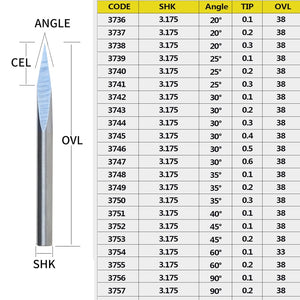 2pc/set 3.175mm 3 Edge Carbide Pypamid bits 3A TOP QUALITY  CNC Engraving Bits Router Machine 3 face Stone Carving Tools