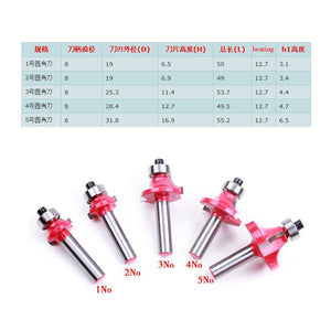 8mm Shank 5pcs/set High Quality Corner Rounding Endmills With Bearing Dovetail Router Bit Cutter Wood Working
