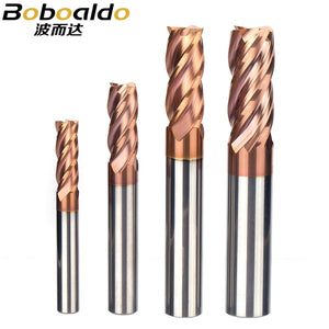 HRC55 Tungsten Steel Spiral Milling Cutter Alloy Coating Router Bits CNC Tool 4 Flutes Lengthened End Mill For Metal