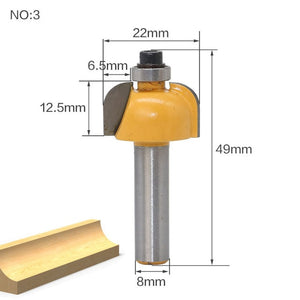 Wood router bit | 13pcs 8mm Straight end mill trimmer cleaning flush trim corner round cove box bits tools Milling Cutter RC