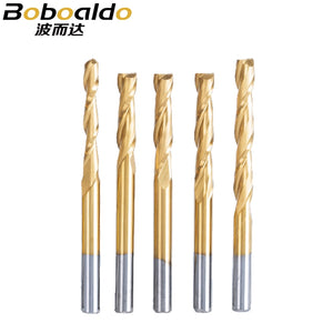 10pc/lot 3.175mm Titanium Coating 2 Flute Spiral router bit for wood CNC tool End Mill Tungsten Carbide PCB Milling Cutter