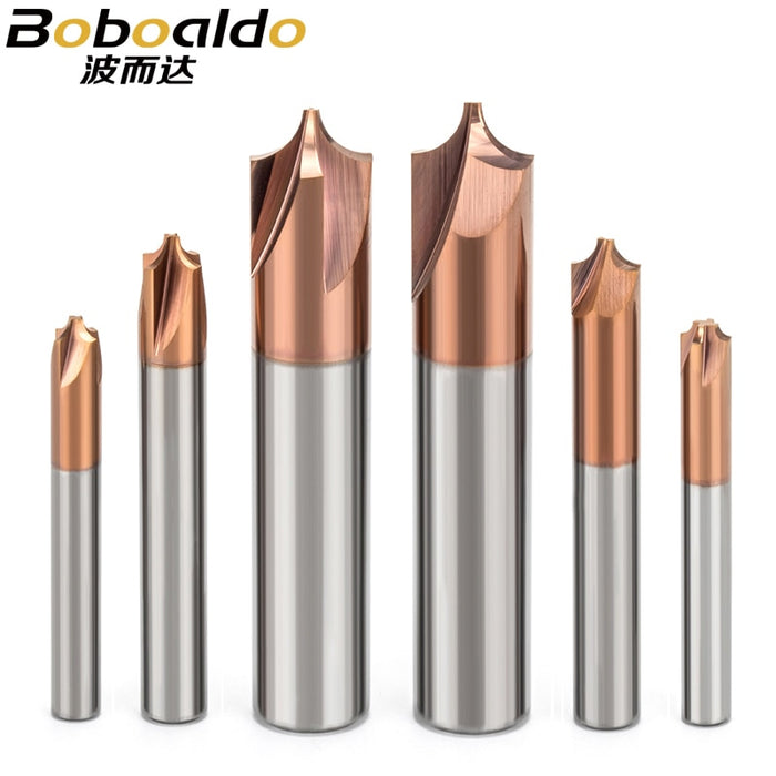 1PC Solid Carbide Anti-R Chamfering Router Bit For Alloy Steel 2 and 4 Flutes Arc R Angle End Mill CNC Milling Cutter
