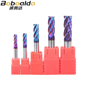 1pcs HRC63 4Flutes Nano blue Coat Carbide Flat Base End Mills Tap Cone Bits Solid Carbide Router bits