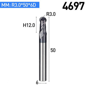 1PC HRC45 Aluminum TiAIN Coating End Mill 2 Flutes Tungsten Steel Router Bits R Knife Arc Groove CNC Milling Cutter