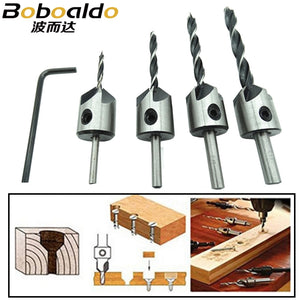 4pcs HSS 5 Flute Countersink Drill Bit Set Carpentry Reamer Woodworking Chamfer End Milling Wood Tool 3mm-6mm ZK74