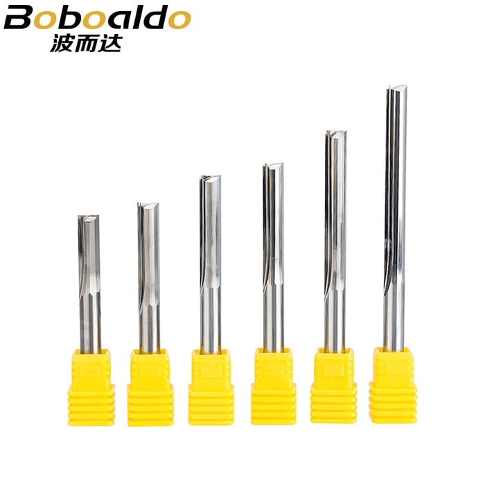3pcs/set 6mm Shank Two Straight Flutes Milling Cutter CNC Carving Cutting Bits End Mill Cutters Tools For Carving Wood MDF