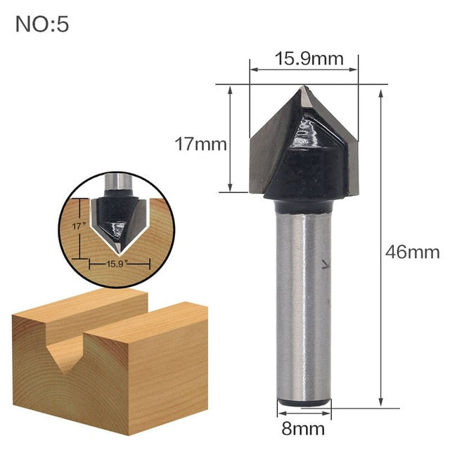 8mm Shank Flush Trim Router Bit with 6pcs Bearing for Wood Milling Cutter