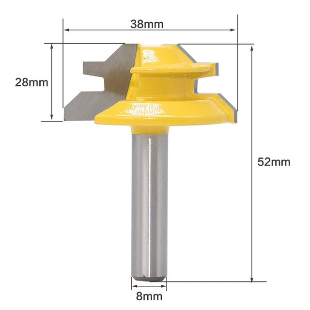 """1//4/"""" Shank 45 Degree Rail Molding Router Bit For Woodworking 1//4*1-3//8mm"""