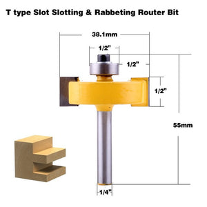 "1pc 1/4"" Shank T type bearings wood milling cutter Industrial Grade Rabbeting Bit woodworking tool router bits for wood"