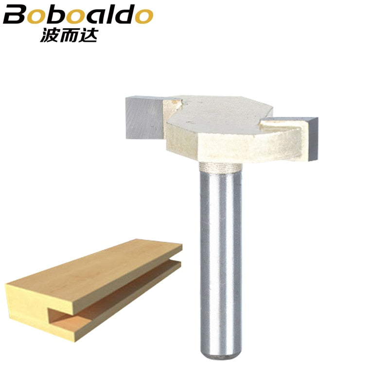 Boboald 1pcs 1/4 Shank T type slotting cutter woodworking tool 2 Flute router bits for wood Rabbeting Bit endmill milling cutter