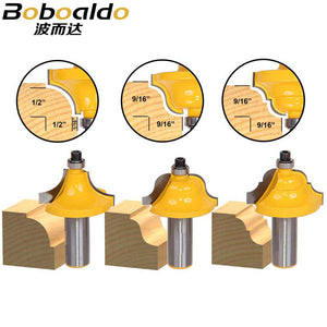 "3pcs/lot Bit Edge Molding Router Bit Set - Large Designer - 1/2"" Roundover Bead Roman Ogee"