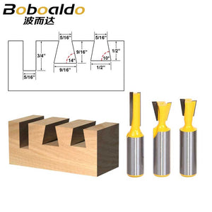 "3pcs/lot Bit Dovetail Router Bit Set - 1/2"" Shank"