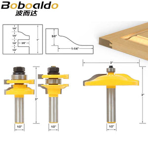 "3pcs/lot Bit Raised Panel Cabinet Door Router Bit Set - 1/2"" Shank # 12335"