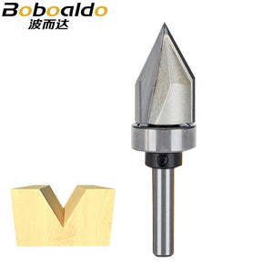 1pcs 1/4 Shank Bearing Guided 60Deg V-Groove Woodworking Tools Arden Router Bit