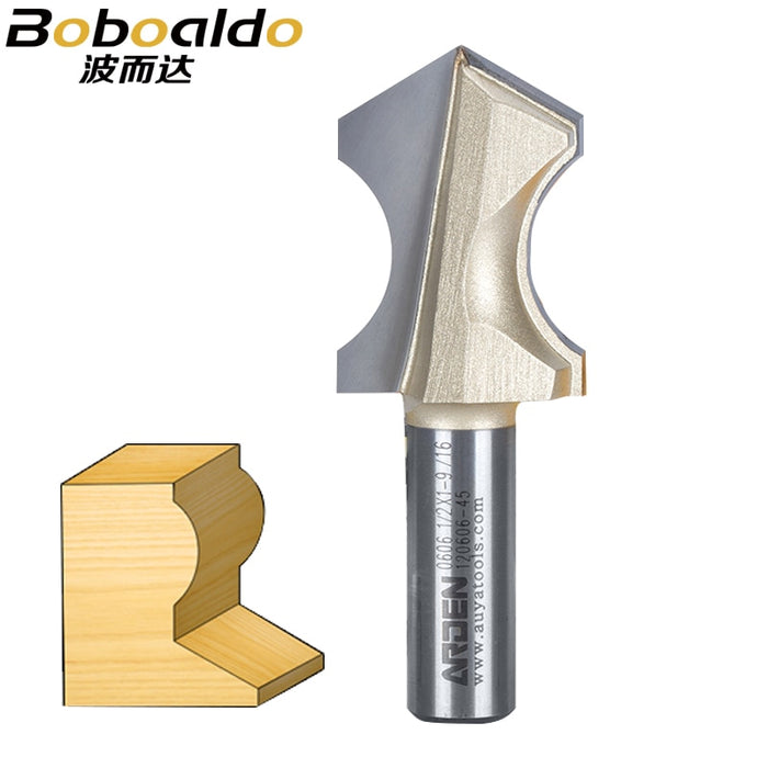 1pcs 1/2 Shank Solid Tungsten Steel Carbide Carving Tool Slotted Woodworking Tools Arden Router Bit Apex bottom Arc End Mill