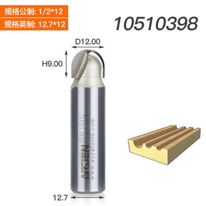 Two Flutes Core Box Cutter round bottom Handrail Bits Decorative Functional Slots Grooves Arden Round Router Bit