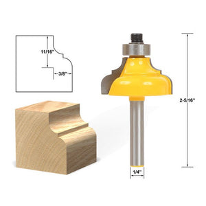 "1pcs 1/4"" Shank Classical Roman Flute Ogee Edging Double Molding Router Bit Wood Drawer Cabinet Door Front Fillet Panel Raiser"
