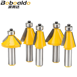 5pc/lot 1/2 Shank Chamfering Router Bit With Bearing Trimming 45 Degree Angle Milling Cutter Trapezoidal Sharped CNC Bit