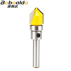 "1pc 1/2"" Shank Router Bit V-Type Tungsten Carbide Woodworking Milling Cutter Round Edge Slotted Chamfering Engraving Tool"