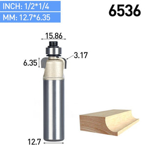 1pc 1/4 1/2 Shank Cove Bit With Bearing Woodworking Tool 2 Flute Trimming Router Bits For Wood Endmill Milling Cutter