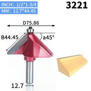 1pcs 1/2 1/4 Shk Chamfer Cutter Industrial grade Router Bits for wood Horse Nose Bit 45 Deg CNC Woodworking Tool endmil