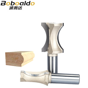 "1/2"" 1/4"" Shank Half Round bit 2 Flute Endmill Router Bits for Wood Without Bearing Woodworking Tool Milling Cutter"
