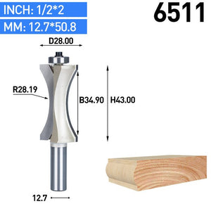 1pc 1/2 Inch Shank Half Round Bit 2 Flute Endmill Router Bits for Wood With Bearing Woodworking Tool Milling Cutter