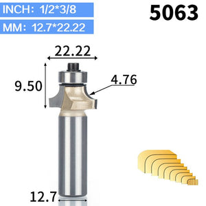 "1pc 1/2"" Shank Tungsten Carbide Woodworking Milling Fillet Cutter Trimmer Head Slotting Engraving R-chamfered Router Bits"