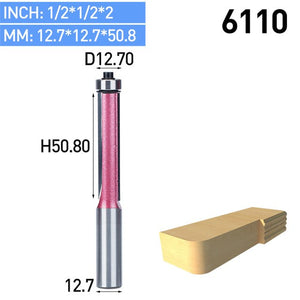 "1pc 1/2"" Shank Flush Trim Router Bits For Wood Trimming Cutters With Bearing Woodworking Industrial Grade Milling Cutter"