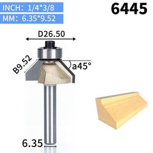 1pcs 1/4 1/2 Shank Chamfer Cutter Router Bits for wood Horse Nose Bit 45 Deg CNC Woodworking Tools two Flute endmill