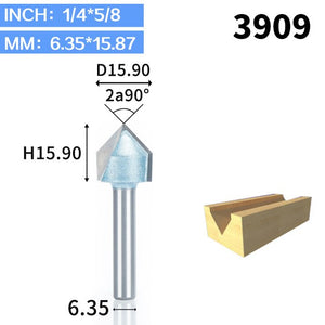 1pcs 1/2 1/4 Shk Industrial Grade Router Bits for wood 90 Deg V Type slotting cutter Tungsten Woodworking Carving Tool