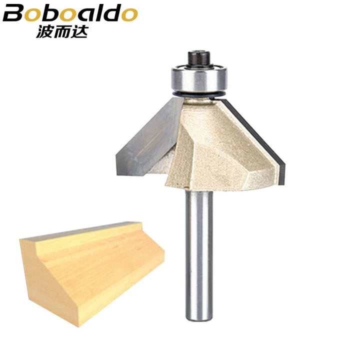 1pcs 1/4 Shank Chamfer Cutter Router Bits for wood Horse Nose Bit 45 Deg CNC Woodworking Tools two Flute endmill