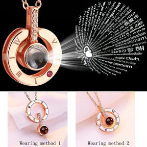Round Shaped I LOVE YOU In 100 languages Projection Necklace For Memory Of LOVE choker collier Drop Shipping