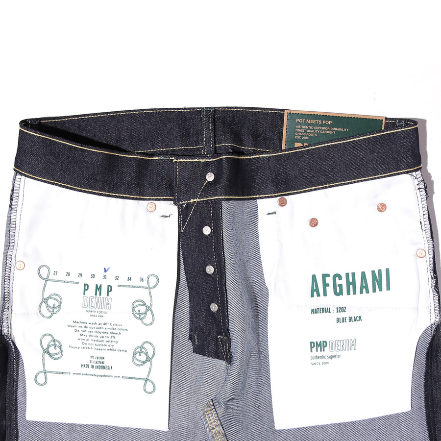 AFGHANI BLUE BLACK STRETCH