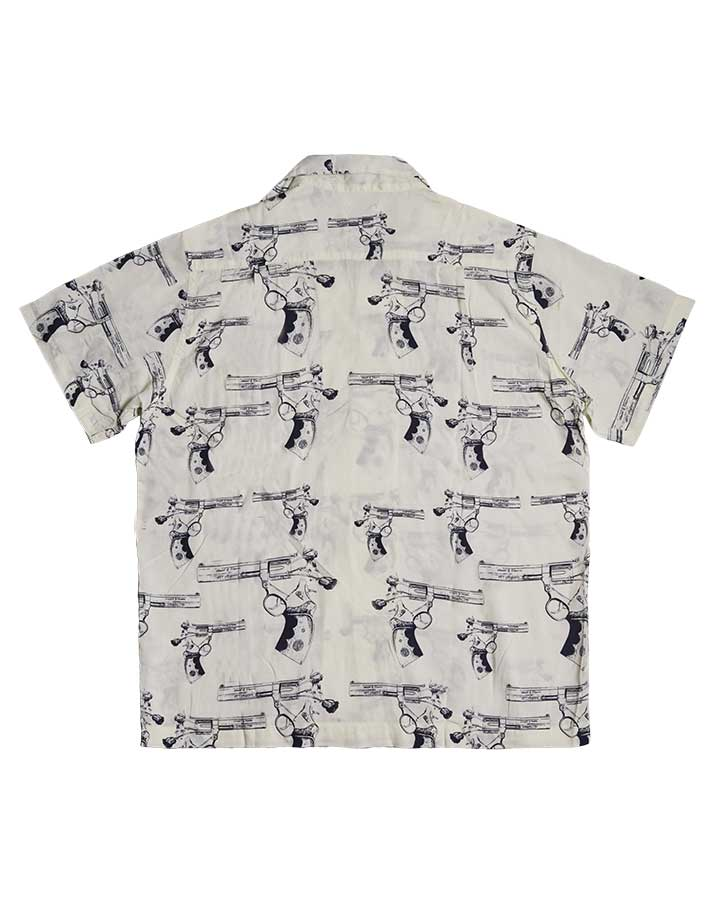 A FLOWER GUN ALOHA SHIRT WHITE