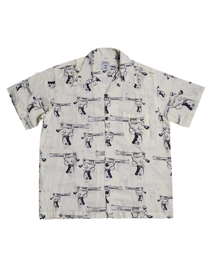 A FLOWER GUN ALOHA SHIRT WHITE S/S 19