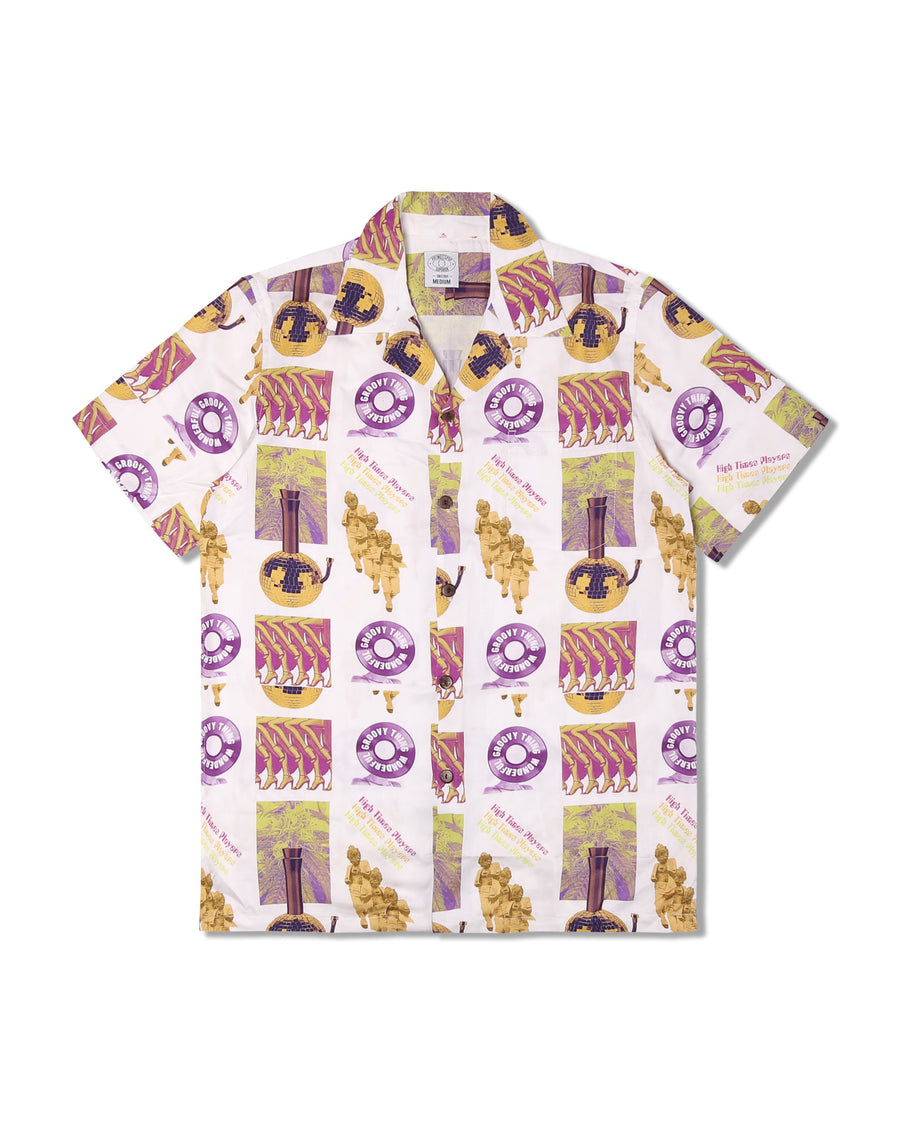 HIGH TIMES PLAYERS ALOHA SHIRT WHITE F/W 19