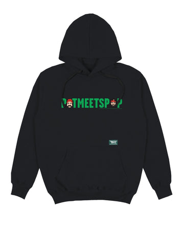 POT MEETS POP / CHEECH AND CHONG - LOGO HEADS HOODIE BLACK