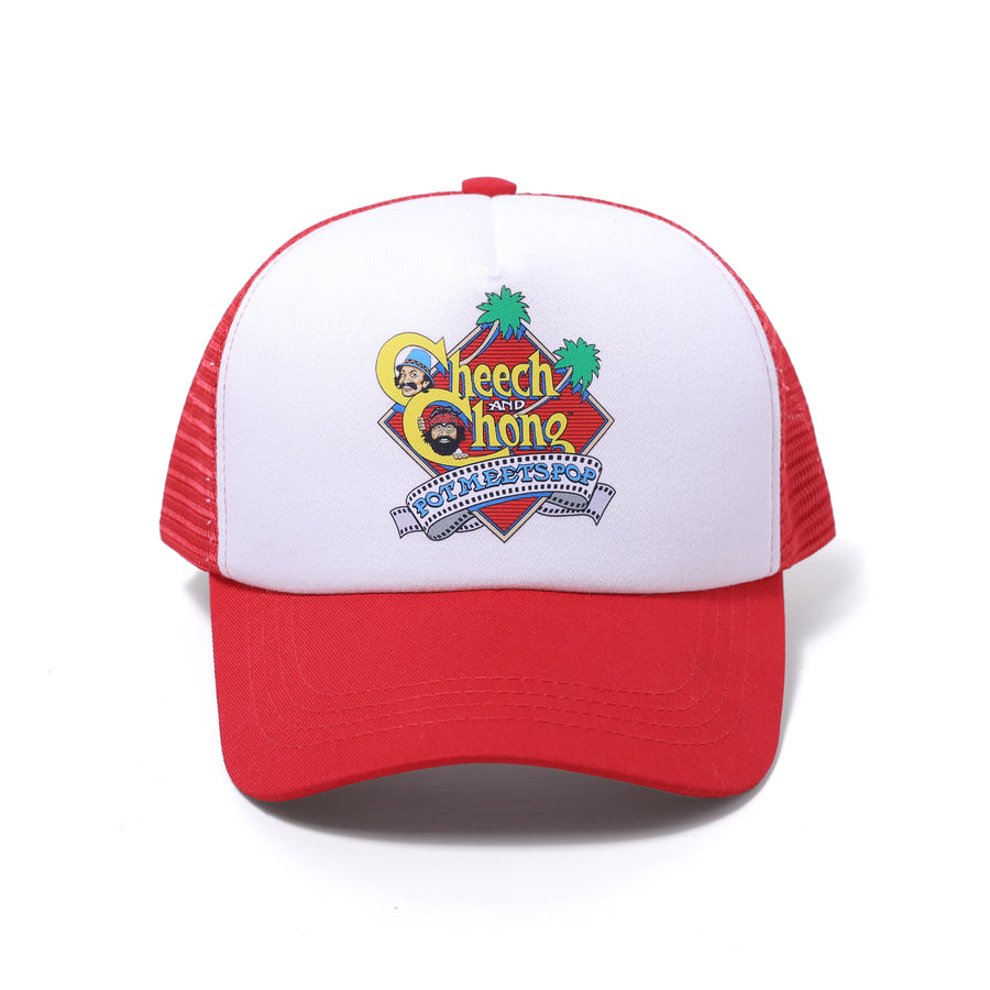 POT MEETS POP / CHEECH AND CHONG - NEXT MOVIE TRUCKER HAT RED