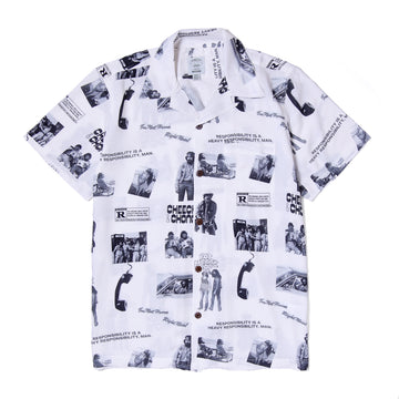 POT MEETS POP / CHEECH AND CHONG - HEAVY RESPONSIBILTY ALOHA SHIRT WHITE