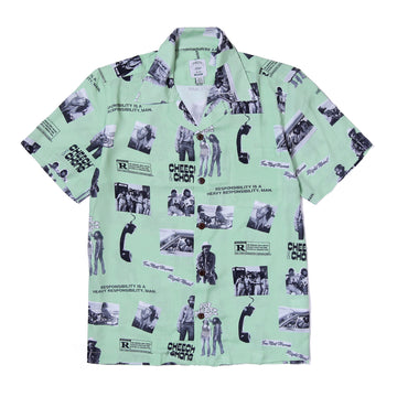 POT MEETS POP / CHEECH AND CHONG - HEAVY RESPONSIBILTY ALOHA SHIRT GREEN
